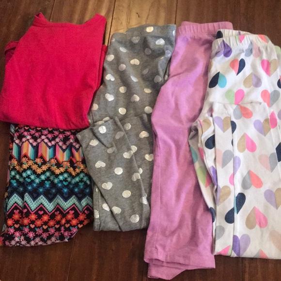 b6a7a0e5f40ee Bottoms   Lot Of Girls 66x Leggings Shirt 5 Pieces   Poshmark
